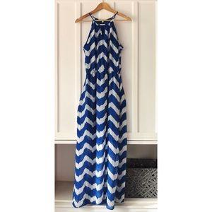 Gianni Bini Chevron Print Halter Maxi Dress